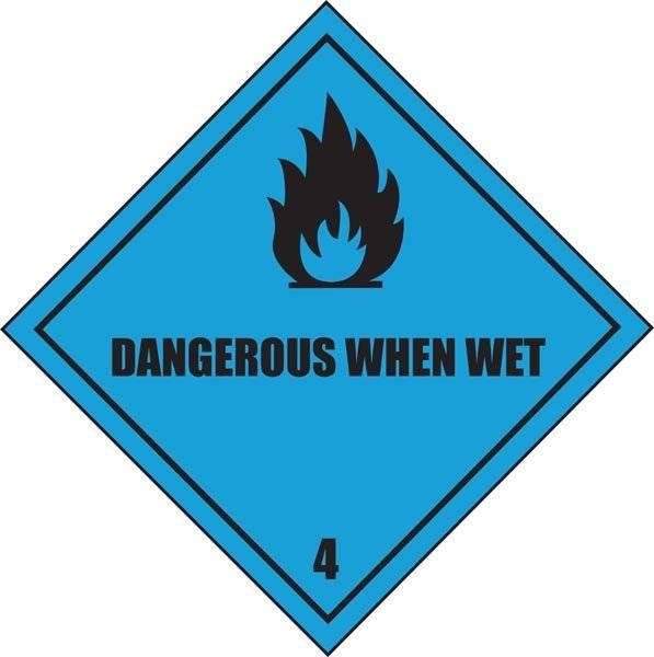 Fare forudvikling af brandfarlige gasser i kontakt med vand. Advarselsskilt