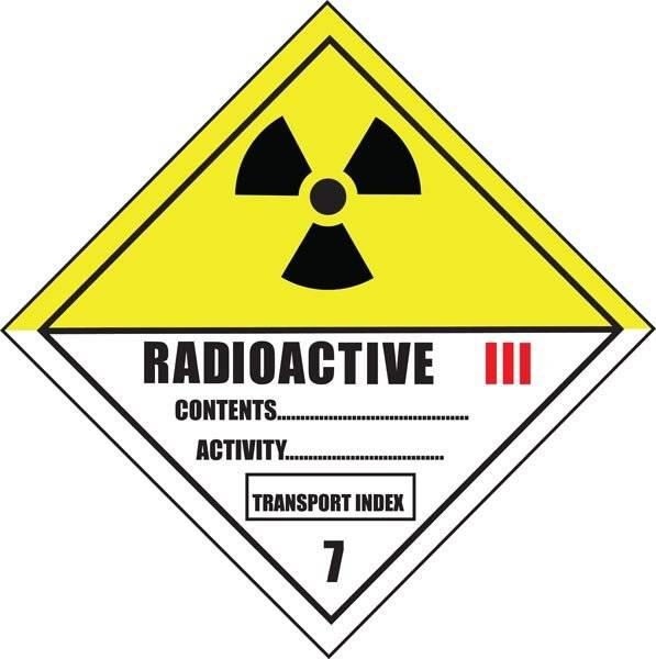 Radioaktivt stof emballagemærkning.Skilt