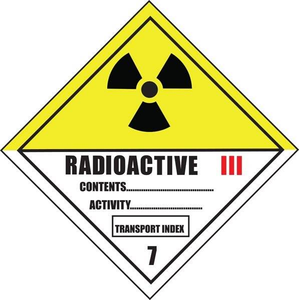 Radioaktivt stof emballagemærkning skilt