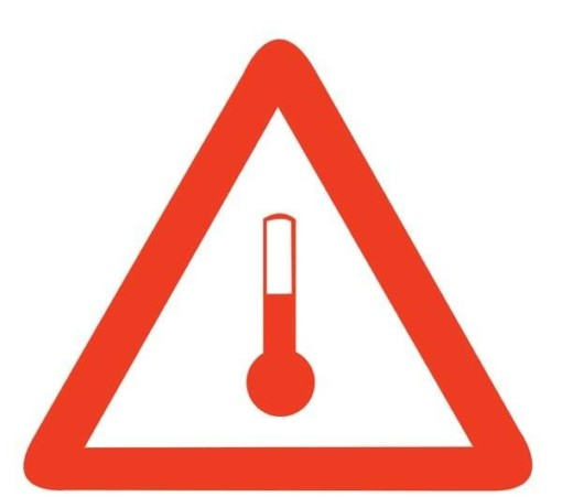 Mærke for oppvarmede produkter skilt