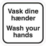 Vask dine hænder Wash your hands. Piktogram skilt