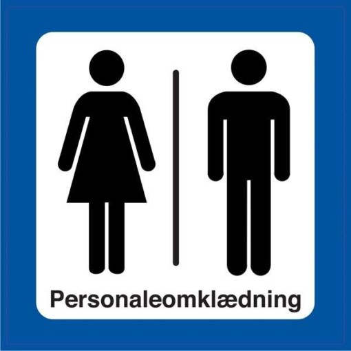 Dame  mand Personaleomklædning.Toiletskilt