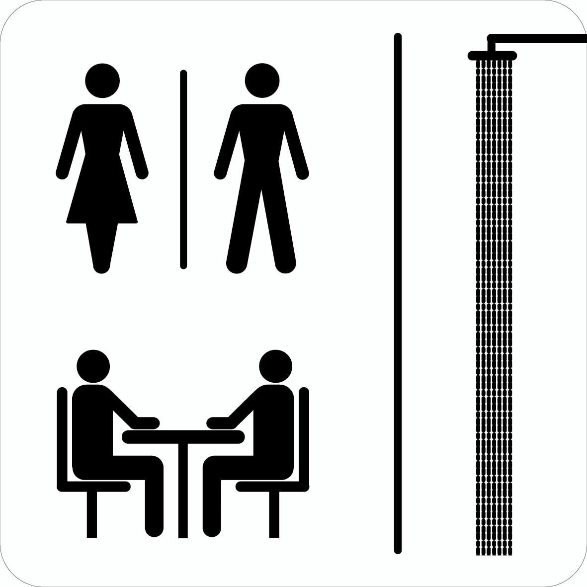 Toilet bad opholdstue. Toiletskilt