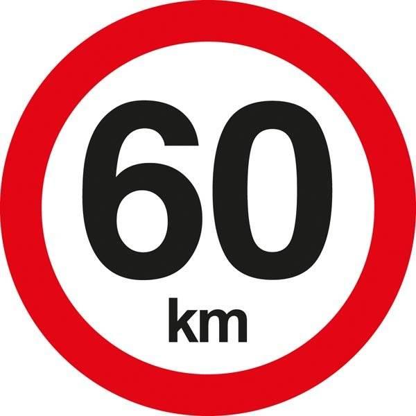 C55 Hastighedsbegrænsning 60 km. Skilt