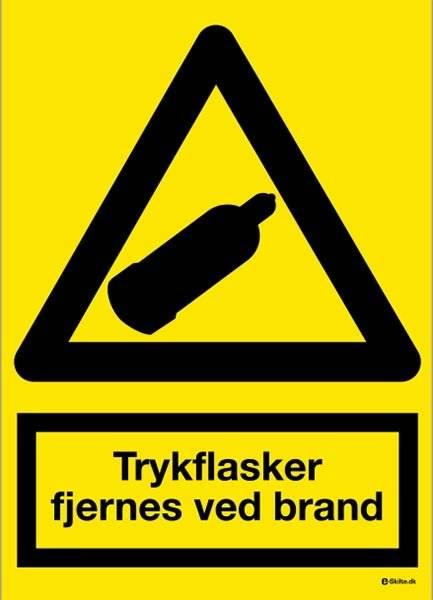 Advarselsskilt - Trykflasker fjernes ved brand