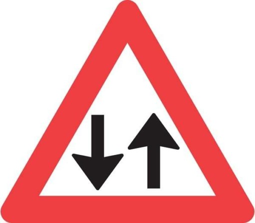 Advarselstrekant - Modkørende trafik skilt