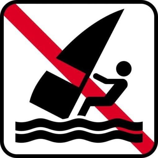 Vandsurfing forbudt - Piktogram skilt