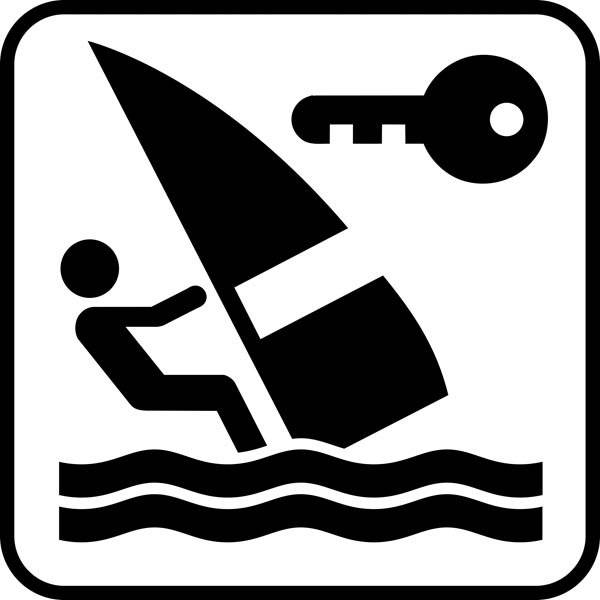 Windsurfing Nøgle - Piktogram skilt
