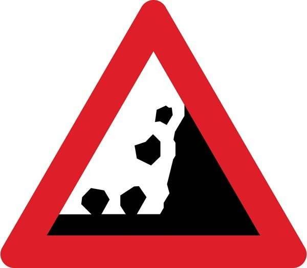 Advarselsskilt - Stenskred