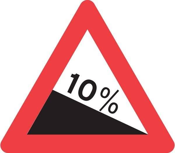Advarselsskilt - Ned stigning