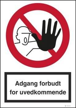 Adgang forbudt skilte