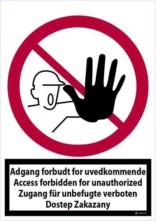 Adgang forbudt for uvedkommende eng+tysk+polsk. Forbudsskilt