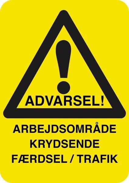 Advarsel arbejdsområde krydsende færdsel trafik skilt