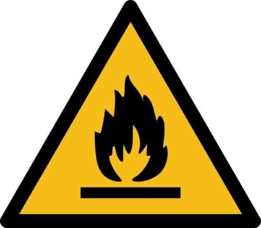 Brandfarligt materiale ISO_7010_W021. Advarselsskilt