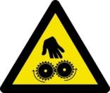 Advarselsskilt - Afskæring ved kørende maskine fare