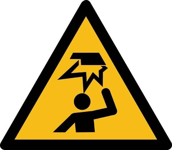 Overliggende forhindring ISO_7010_W020. Advarselsskilt