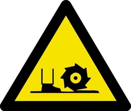 Advarselsskilt - Kørende maskine ved fødder