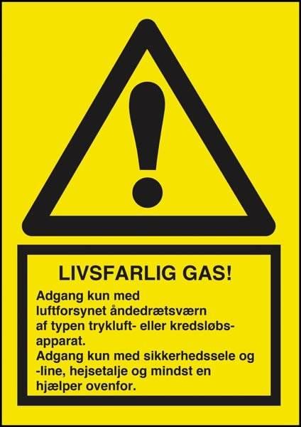 Advarselsskilt - Livsfarlig gas Adgang kun med luftforsynet åndedrætsværn