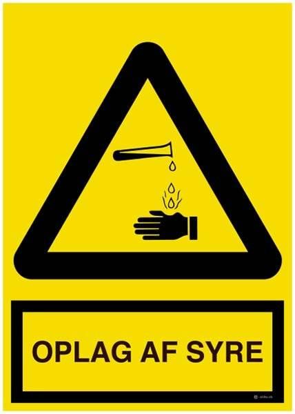 OPLAG AF SYRE. Advarselsskilt