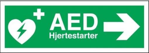 AED hjertestarter til højre Redningsskilt