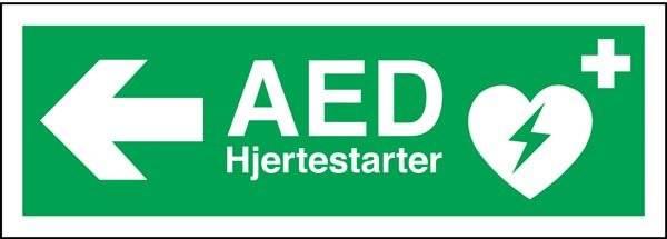 AED hjertestarter til Venstre Redningsskilt