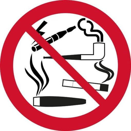 Al rygning forbudt. Forbudsskilt
