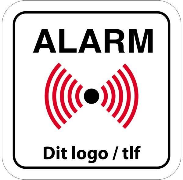 Alarm skilt med eget logo eller tekst