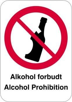 Alkohol forbudsskilt alcohol Prohibition skilt