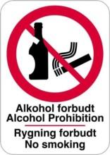 Alkohol forbudt Alcohol Prohibition Rygning forbudt No smoking. skilt