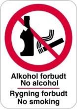 Alkohol forbudt No Alcohol Rygning forbudt No smoking skilt