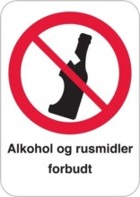 Alkohol og rusmidler forbudt skilt