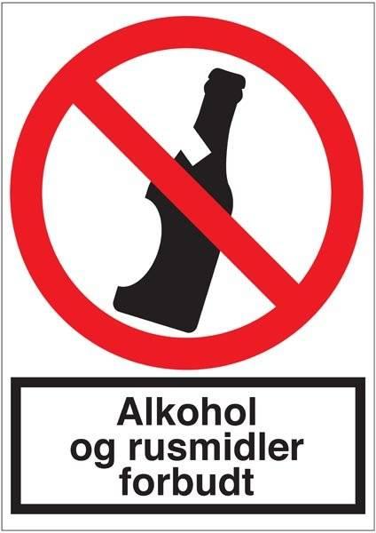 Alkohol og rusmidler forbudt. skilt