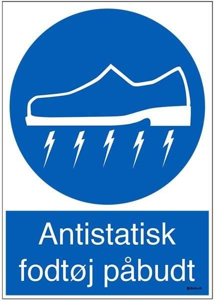 Antistatisk fodtøj påbudt. Påbudsskilt
