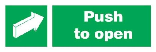 Arrow-push To Open-boxes Redningsskilte.