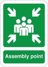 Assembly point. Redningsskilt