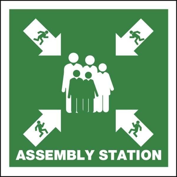 Assembly Station Redningsskilt
