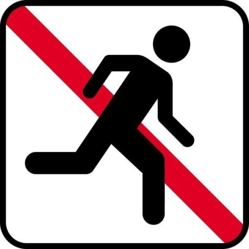 Løbe forbud. Piktogram skilt