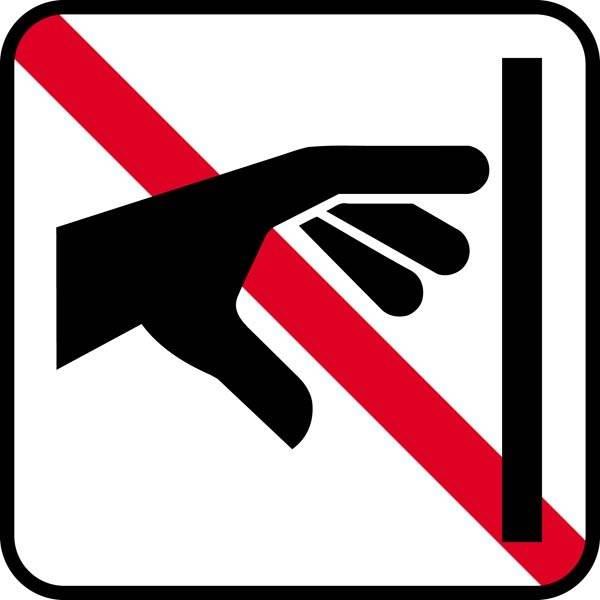 Berøringsforbud. Piktogram skilt