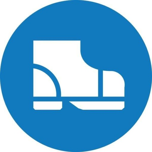 Sikkerhedsstøvler påbudt. Påbudsskilt