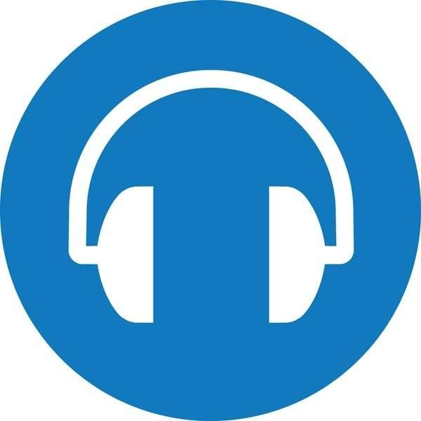 Høreværn påbudt. Påbudsskilt