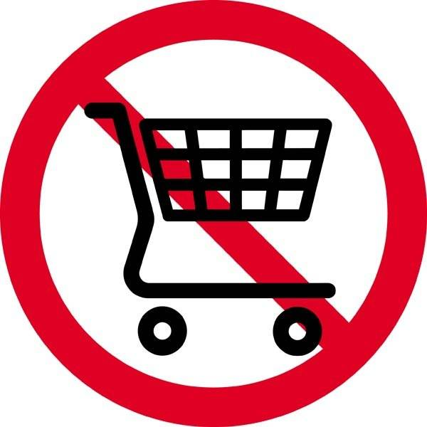 Indkøbsvogne forbudt. Forbudsskilt