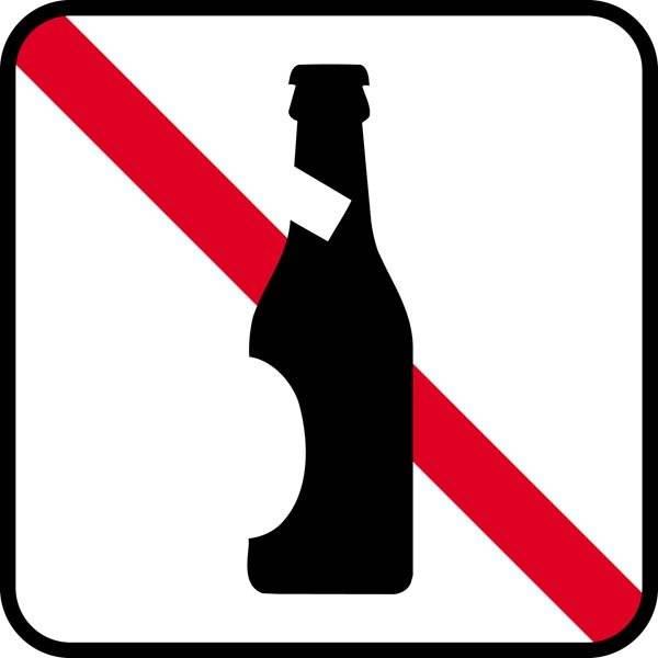 Øl forbud. Piktogram skilt