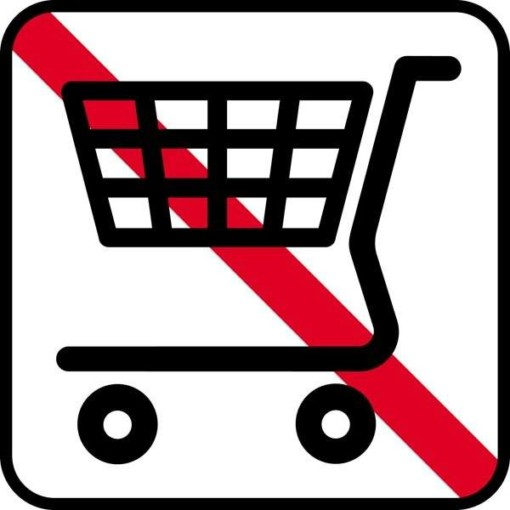 Indkøbsvogn forbud. Piktogram skilt