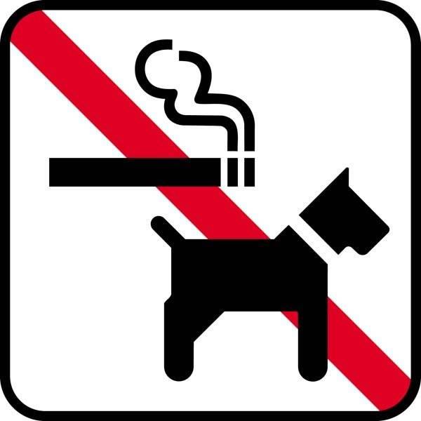 Røg + hund forbud. Piktogram skilt