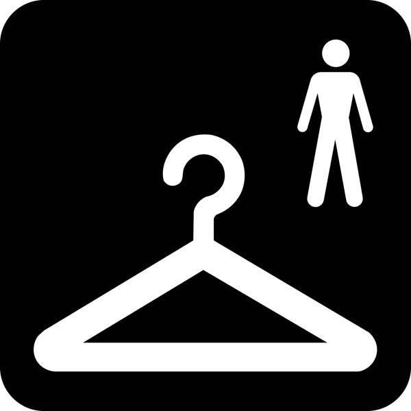 Garderobe Mænd Piktogram skilt