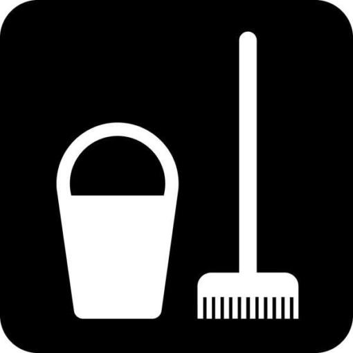 Rengørings redskaber skilt