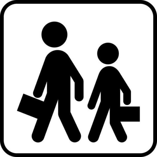 Skolebørn. Piktogram skilt