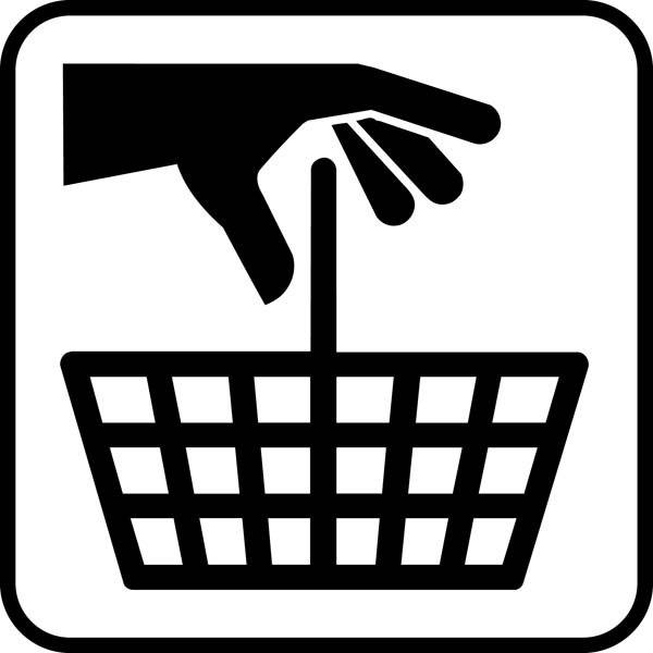 Indkøbskurv. Piktogram skilt