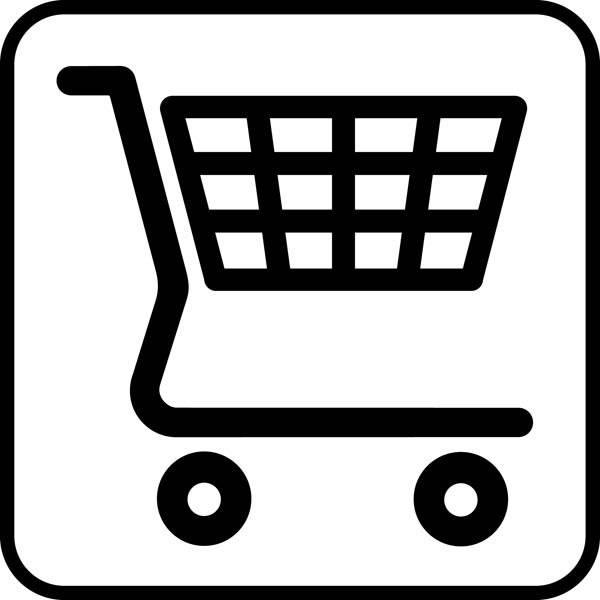 Indkøbsvogn. Piktogram skilt