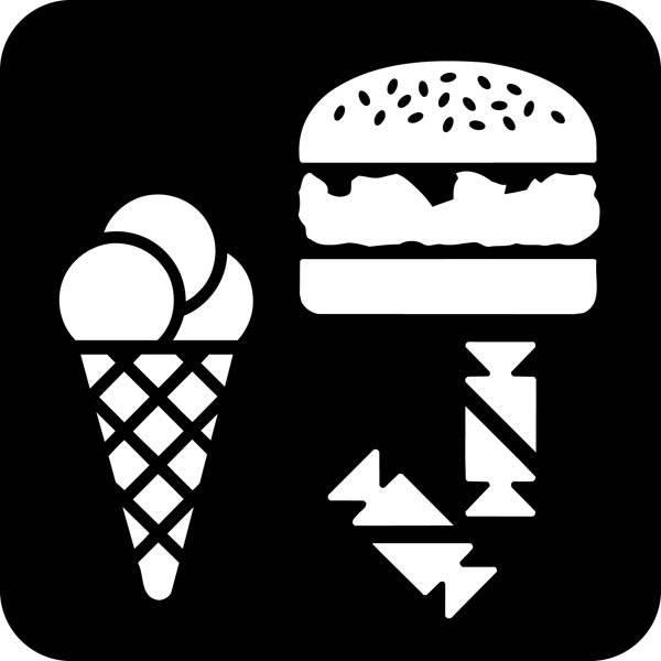 Is burger slik. Piktogram skilt